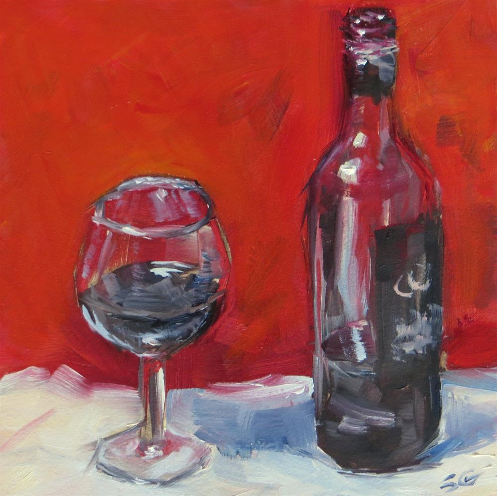 """Bottle of Red"" original fine art by Susan Galick"