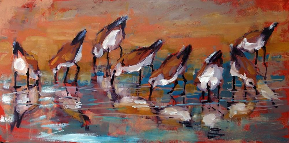 """Shorebirds at the Water's Edge"" original fine art by Rick Nilson"