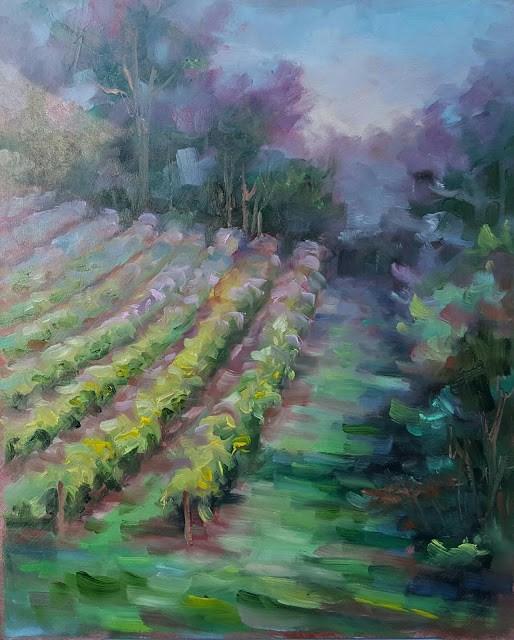 """Dusk in the Vineyard"" original fine art by Tammie Dickerson"