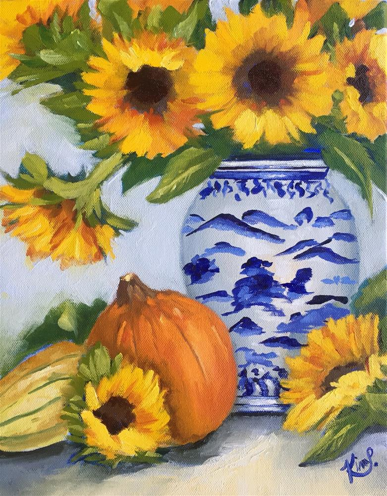 """Fall Harvest Still Life with pumpkins, sunflowers and blue and white vase"" original fine art by Kim Peterson"