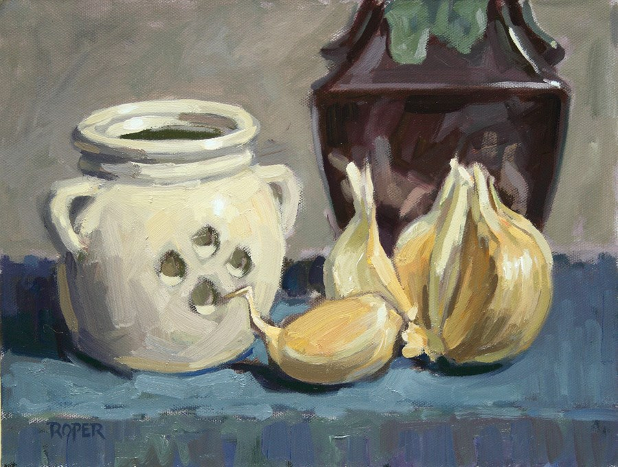"""DAY 6: Elephant Garlic"" original fine art by Stuart Roper"