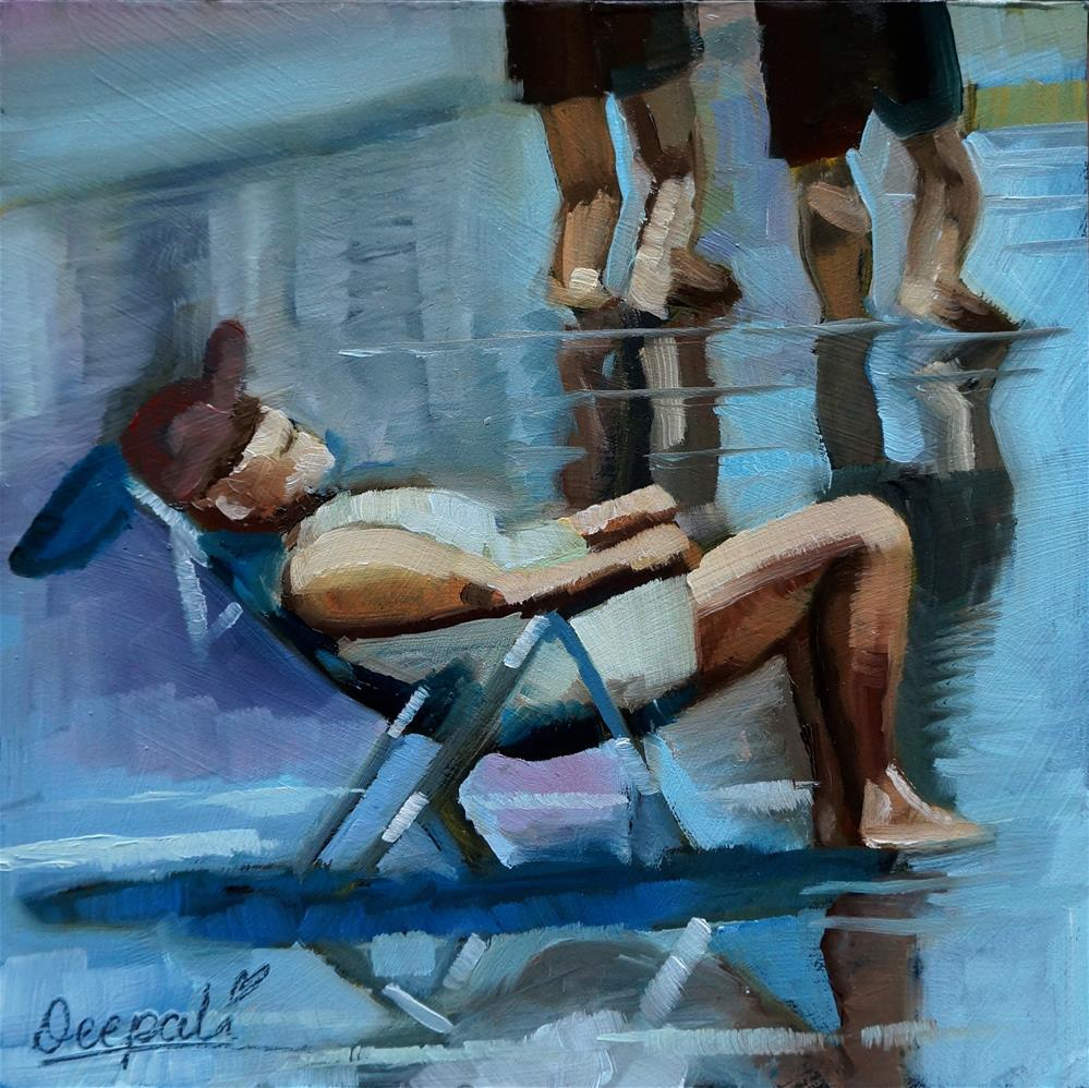 """Relaxing on beach"" original fine art by Dipali Rabadiya"