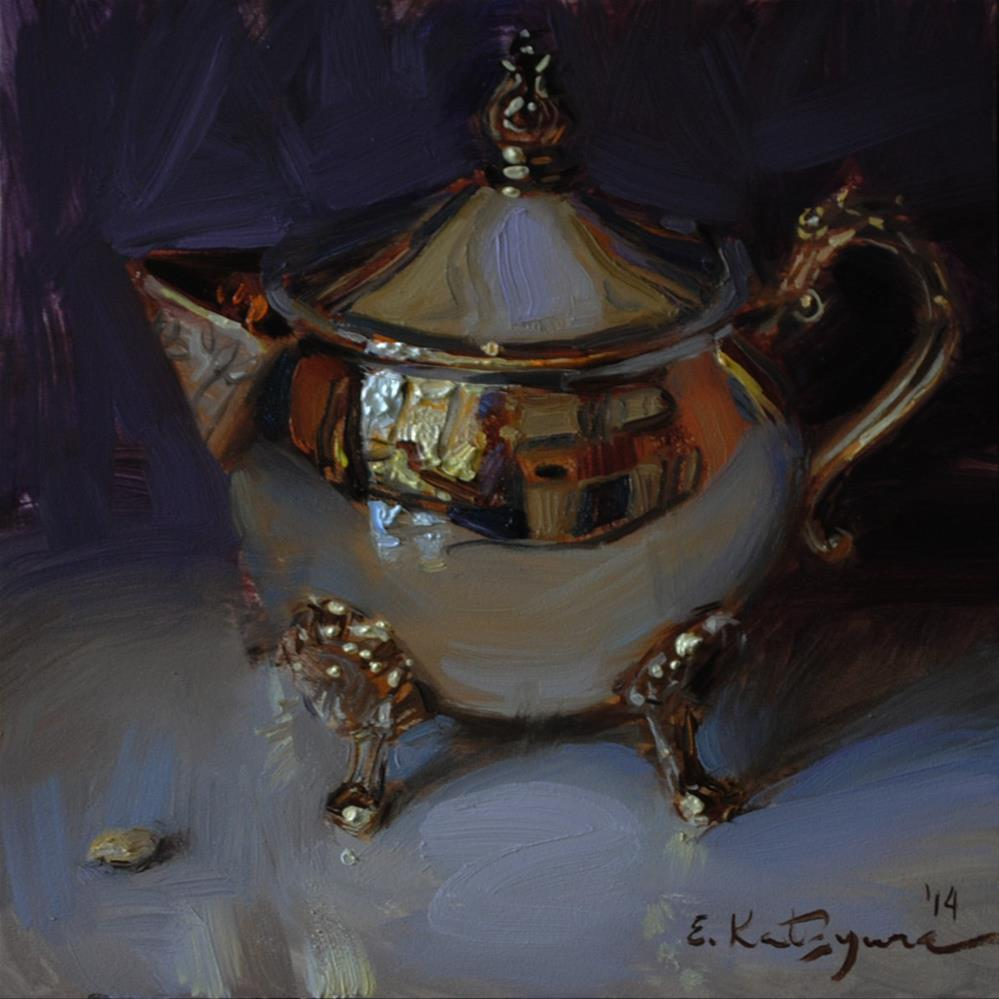 """Silver on Purple"" original fine art by Elena Katsyura"