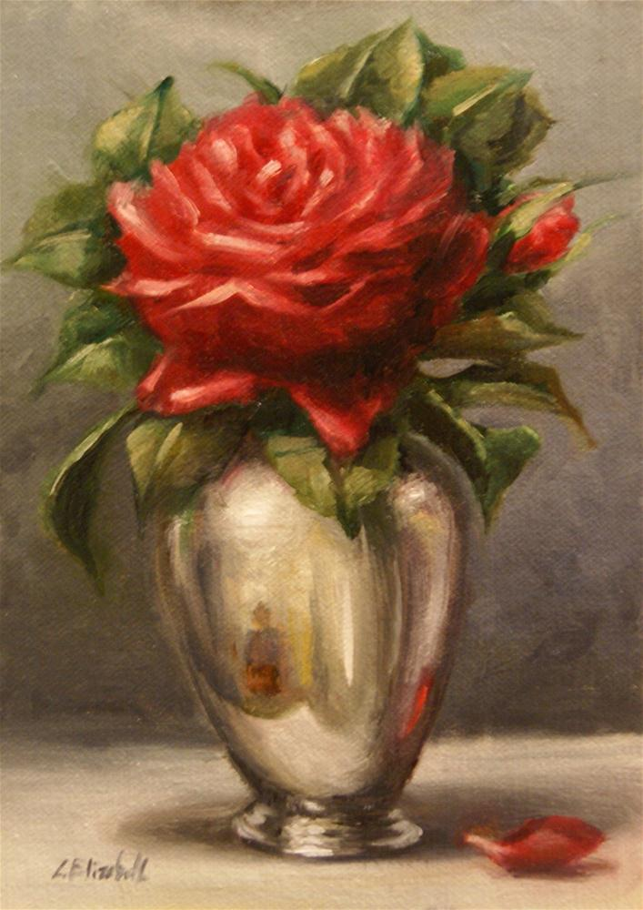 """Red Rose and Silver Vase,  Oil on  5x7   Linen Panel"" original fine art by Carolina Elizabeth"