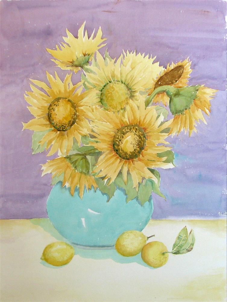 """Sunflowers and Lemons"" original fine art by Crisynda Buss"