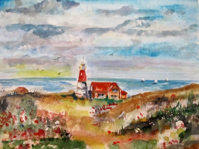 """Light House"" original fine art by Delilah Smith"
