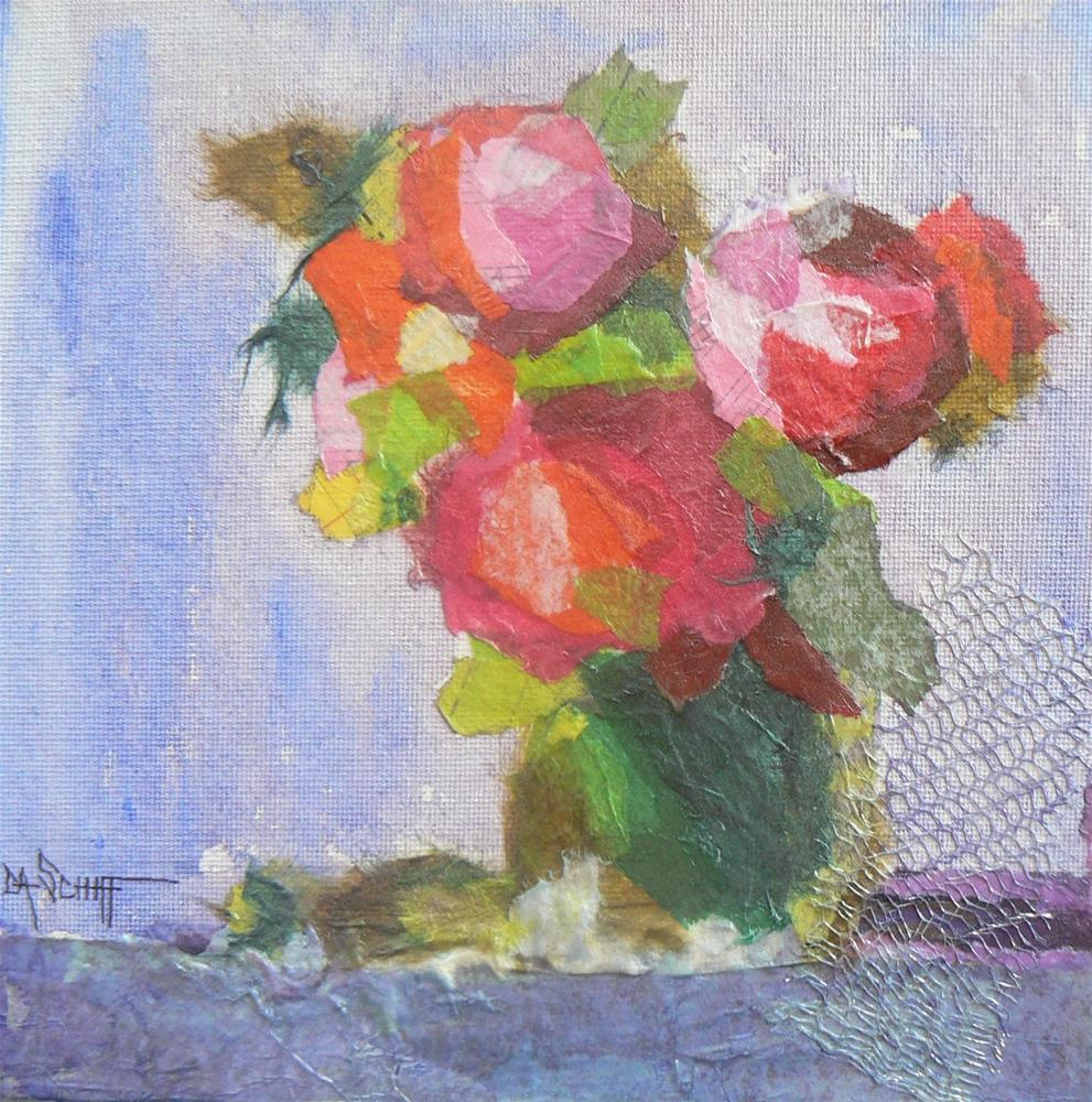 """Collage on Sale Wild and Wacky Wednesday  Flower Collage by Carol Schiff, 8x8 torn paper collage"" original fine art by Carol Schiff"