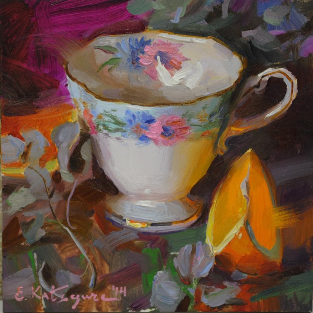 """Teacup and Orange Slice"" original fine art by Elena Katsyura"