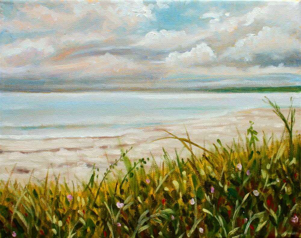 """Calm seas before a rain shower"" original fine art by Hilary J. England"