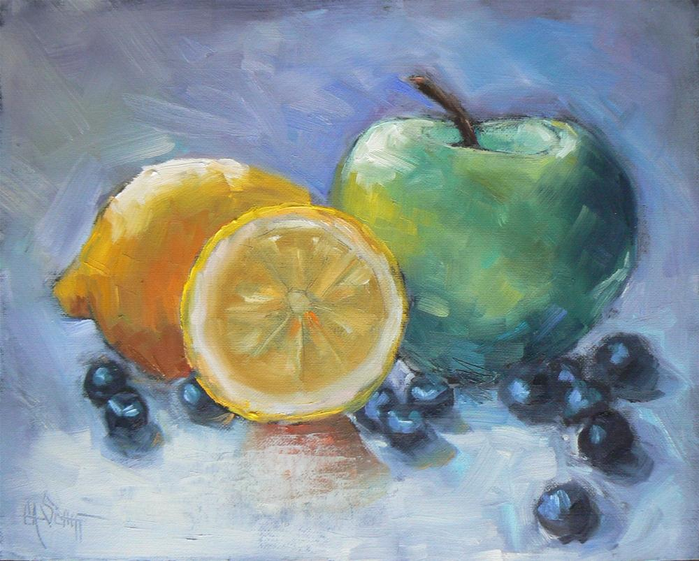 """Oil Fruit Still Life, Lemon, Granny and Blueberries 8x10"" original fine art by Carol Schiff"