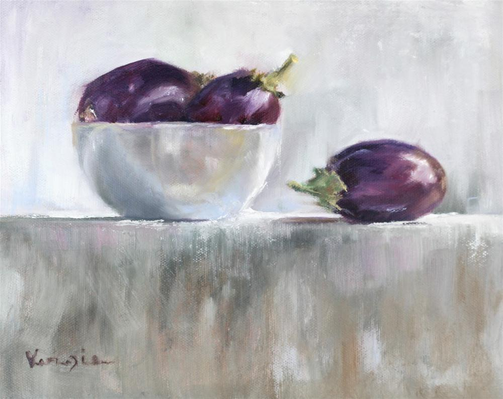 """Still life painting with baby eggplants and white bowl"" original fine art by Carrie Venezia"
