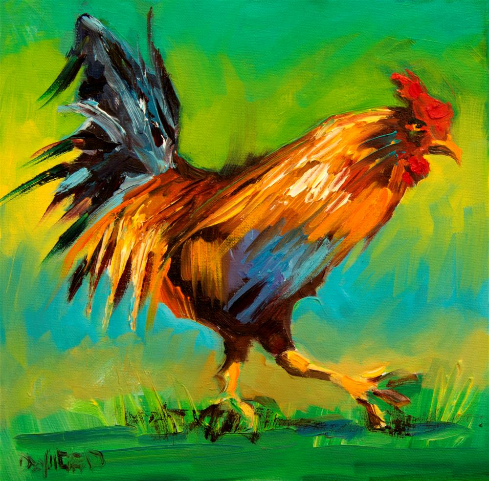 """Bright Rooster"" original fine art by Diane Whitehead"