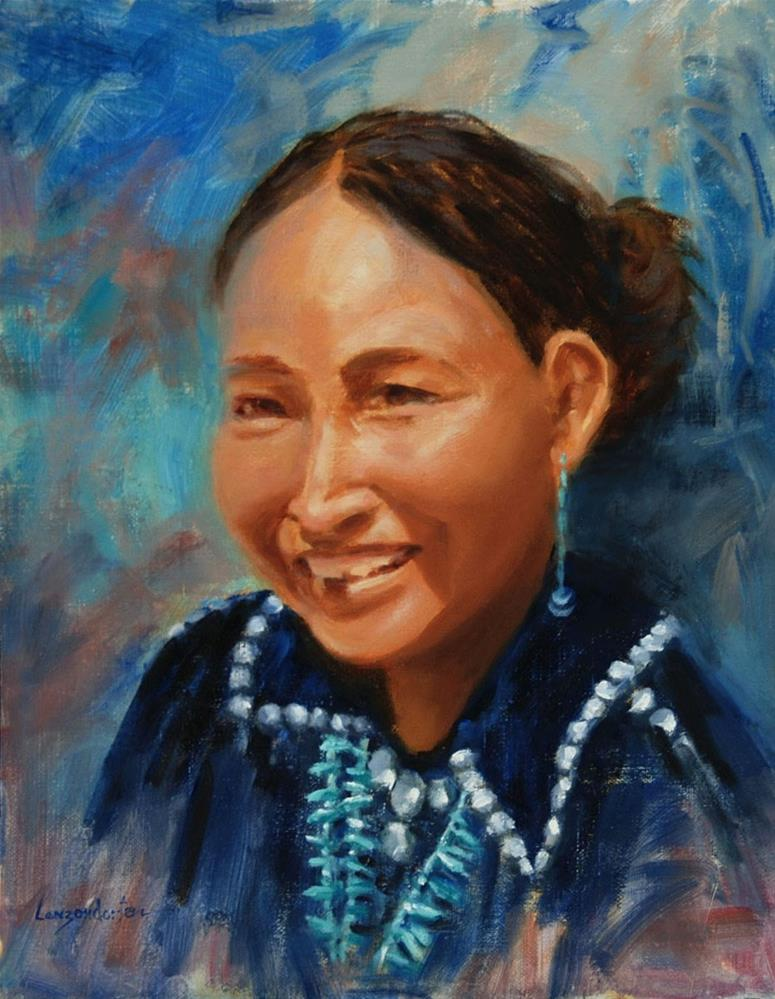 """NAVAJO GIRL SMILING"" original fine art by Dj Lanzendorfer"