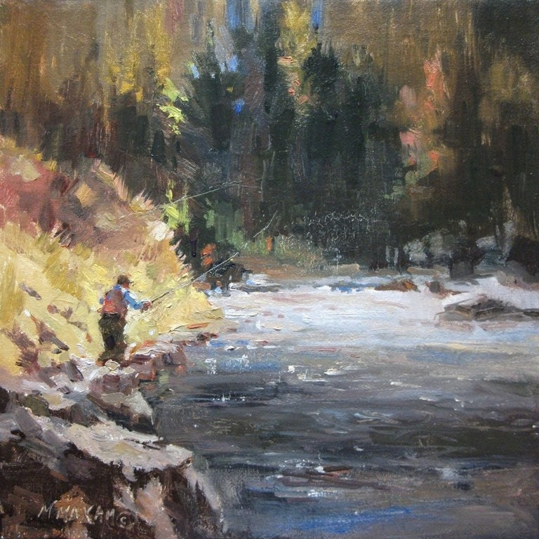 """Fly Fishing and a great day in the great outdoors"" original fine art by Mary Maxam"