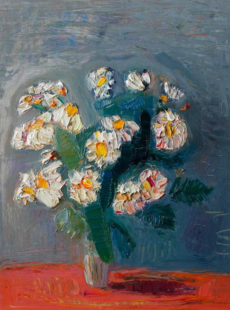 """White Daisies in Silver Light"" original fine art by Anna  Fine Art"
