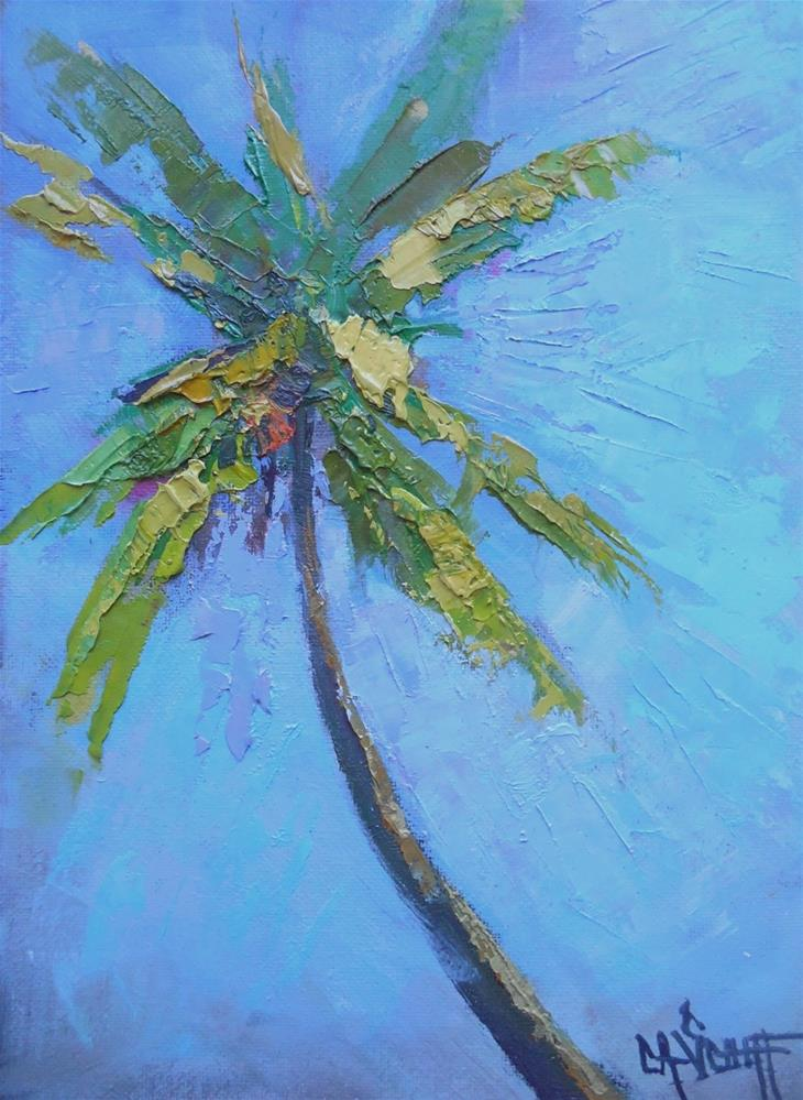 """Palm Tree Painting, Daily Painting, Small Oil Painting, Impasto, 6x8 Oil Landscape"" original fine art by Carol Schiff"