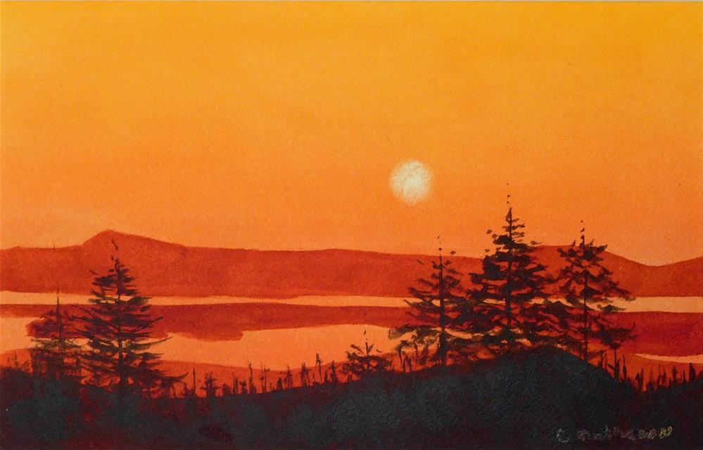 """Cadillac Mountain Sunset"" original fine art by Carol Matheson"