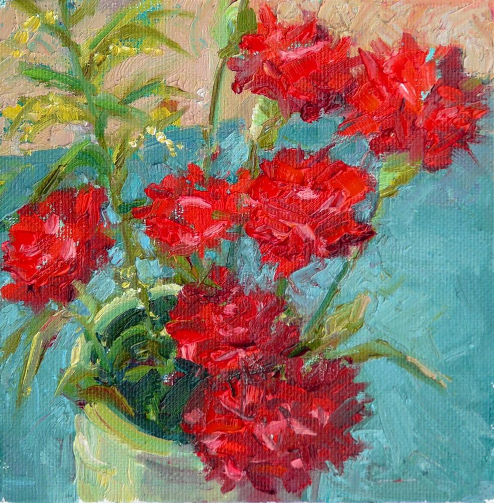 """Red Carnations,still life,oil on canvas,6x6,price$170"" original fine art by Joy Olney"