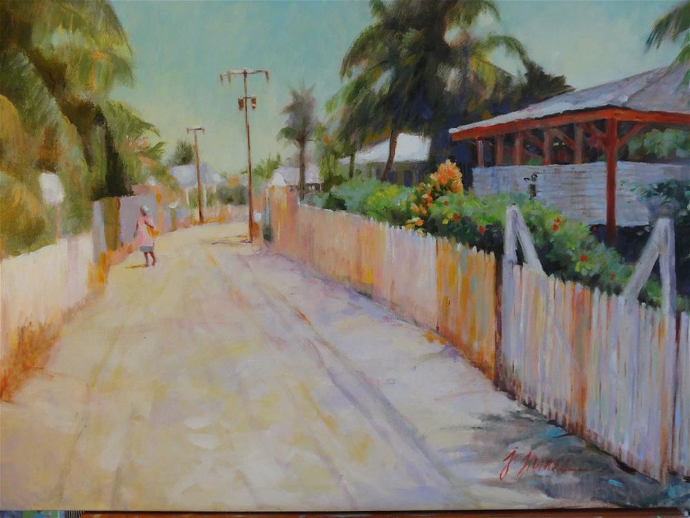 """Roatan Main Street"" original fine art by Jini James"