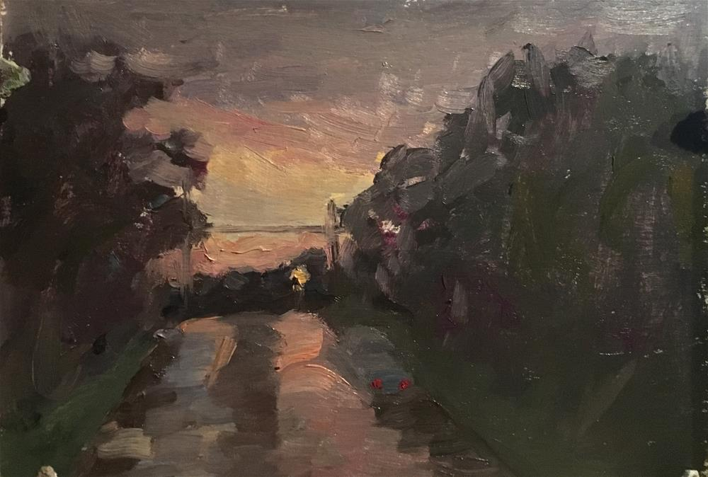 """Sunset in the rain"" original fine art by Judith Anderson"