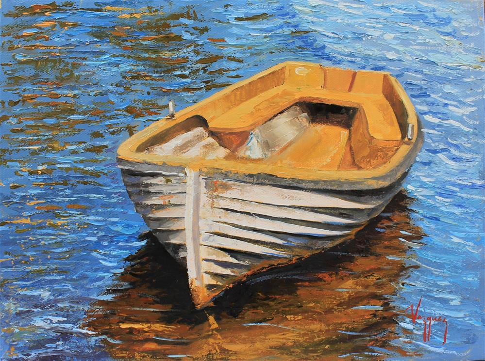 """White and yellow boat"" original fine art by Marco Vazquez"