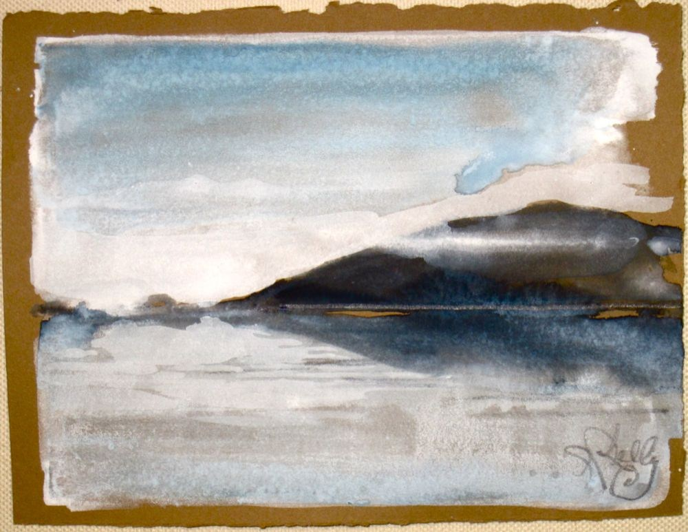 Low-laying Clouds on the Hudson - by Gretchen Kelly- miniature watercolor landscape original fine art by Gretchen Kelly