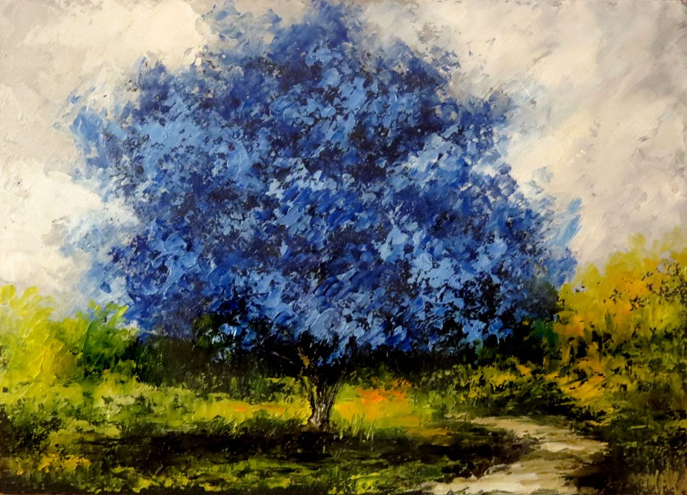 """In the Shadow of the Blue Tree"" original fine art by Bob Kimball"