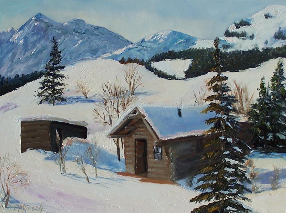 """""""Mountain Cabin"""" original fine art by Donna Munsch"""