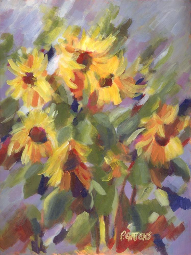 Sunflower Dancers original fine art by Pamela Gatens