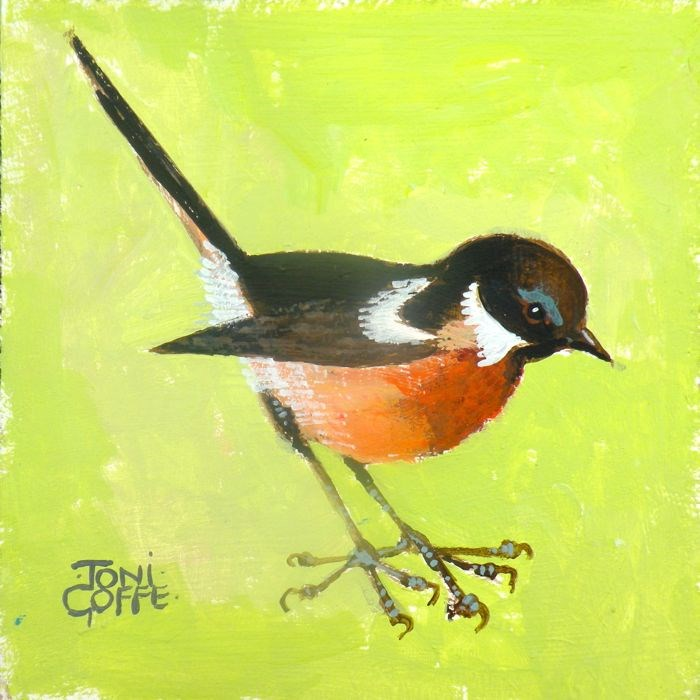 """Another Stonechat"" original fine art by Toni Goffe"