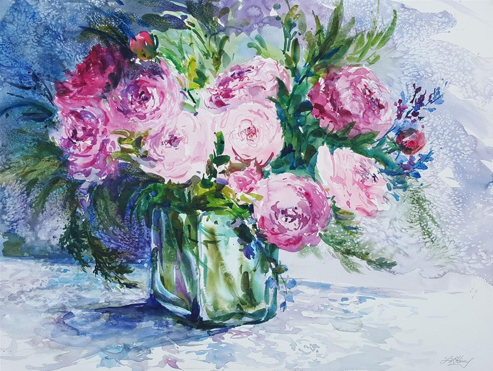 """Rhapsody in Pink"" original fine art by Linda Henry"