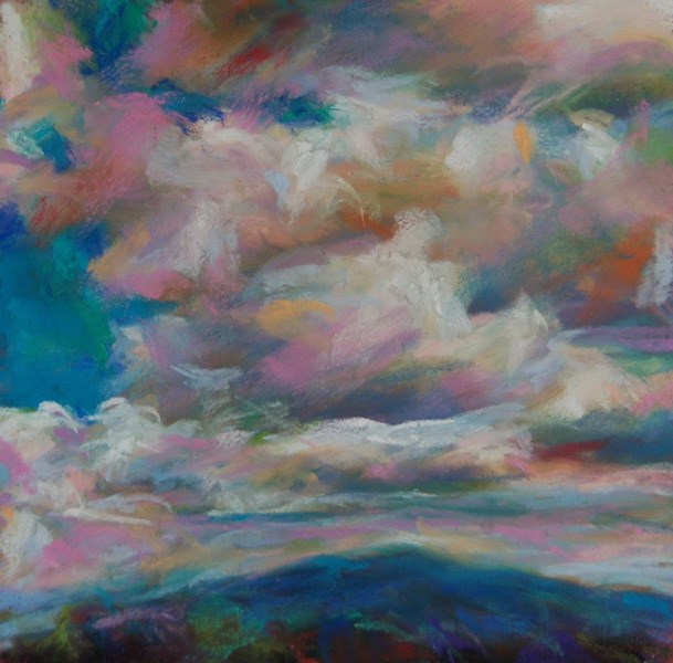 """A PINK DAY - 6 x 6 pastel sky by Susan Roden"" original fine art by Susan Roden"