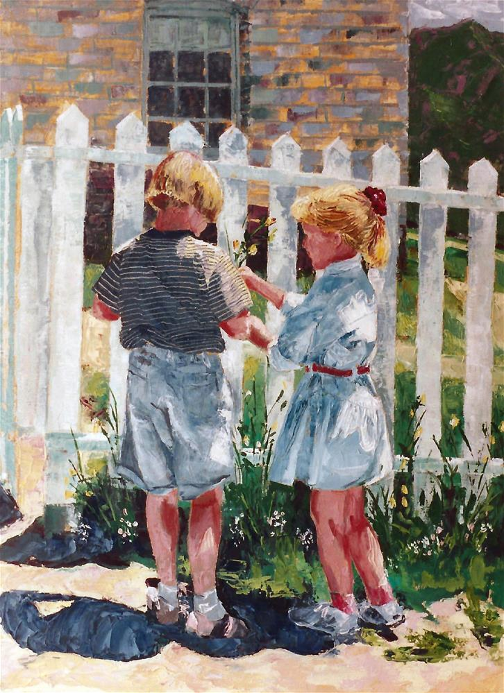 """Picking flowers by fence"" original fine art by Donna Whatcott Parsons"