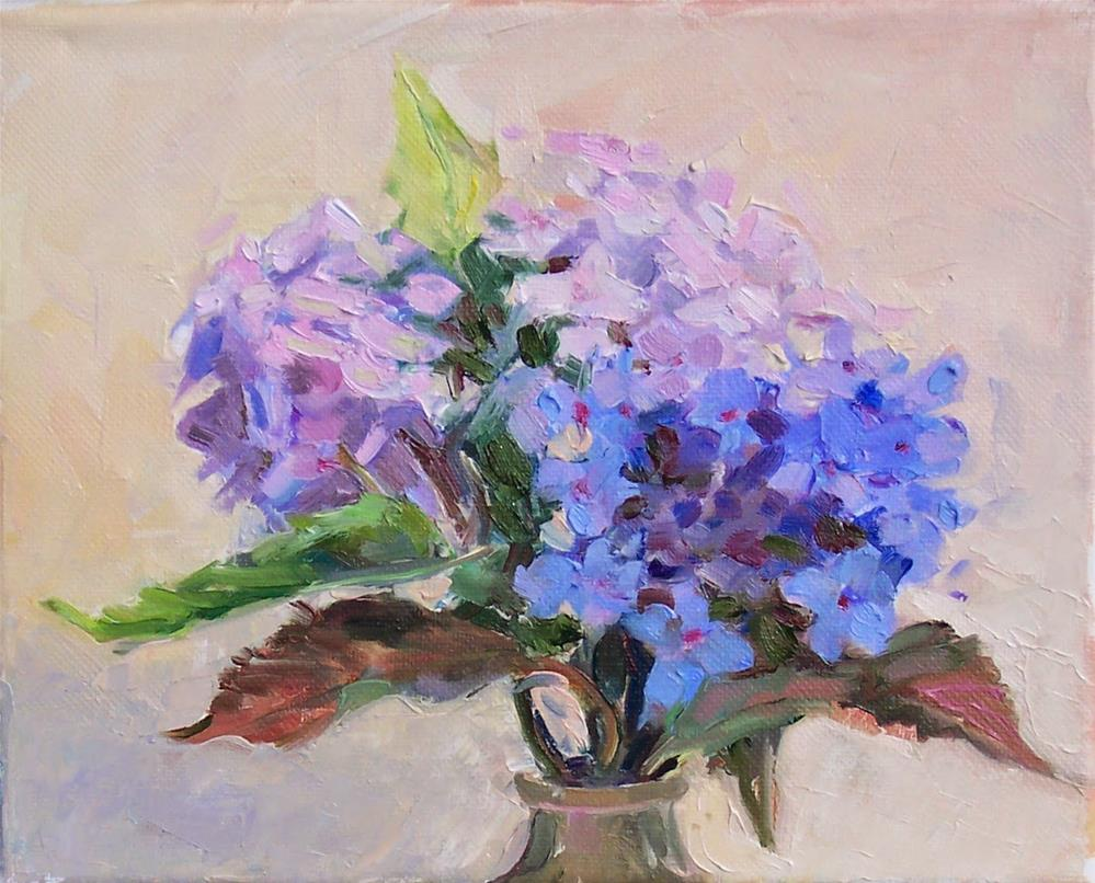 """Blue and Pink Hydrangeas,Still life,oil on canvas,8x10,price$300"" original fine art by Joy Olney"