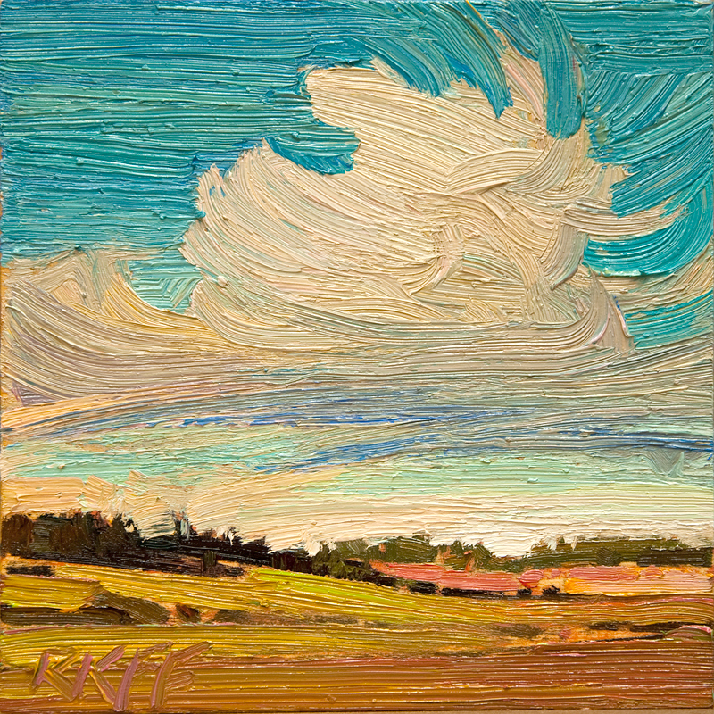 """Farm Fields: 6x6 oil on panel"" original fine art by Ken Faulks"