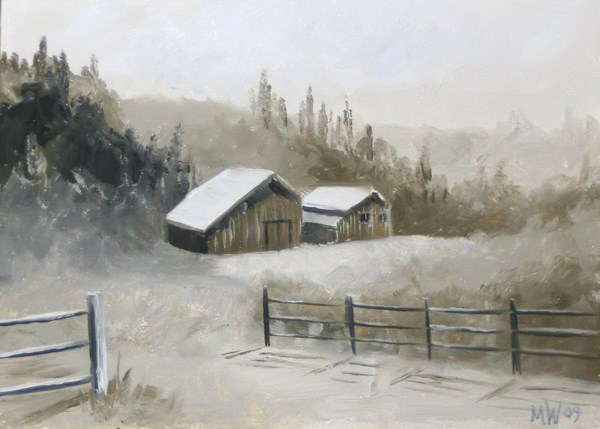 """Mark Adam Webster - Foothill Barn Landscape - Black and White Landscape Oil Painting"" original fine art by Mark Webster"