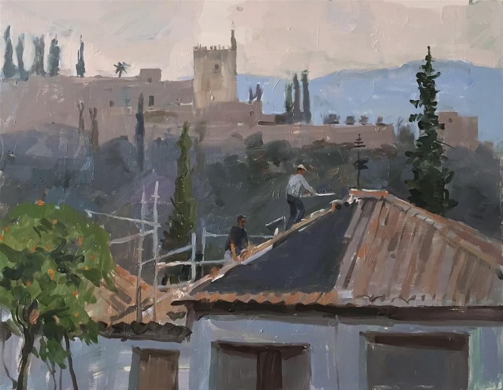 """Roof with a view"" original fine art by Haidee-Jo Summers ROI"