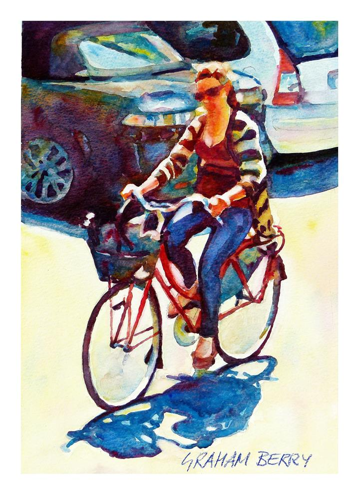 """Cycling to lunch."" original fine art by Graham Berry"