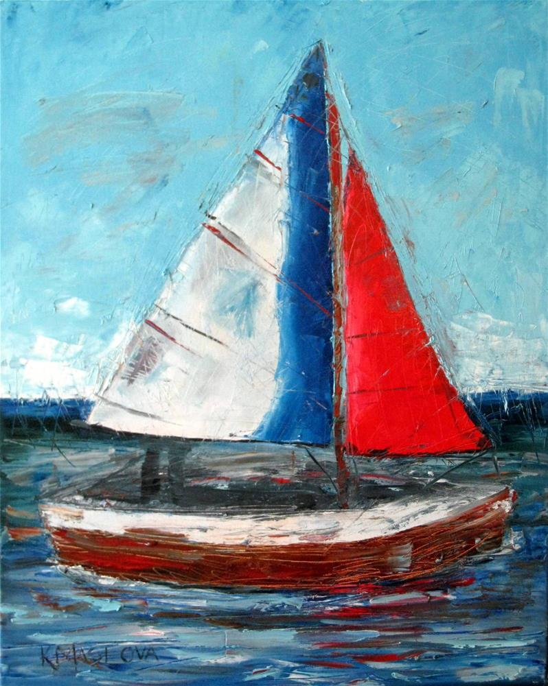 """""""Sailboat"""" original fine art by Kulli Maslova"""