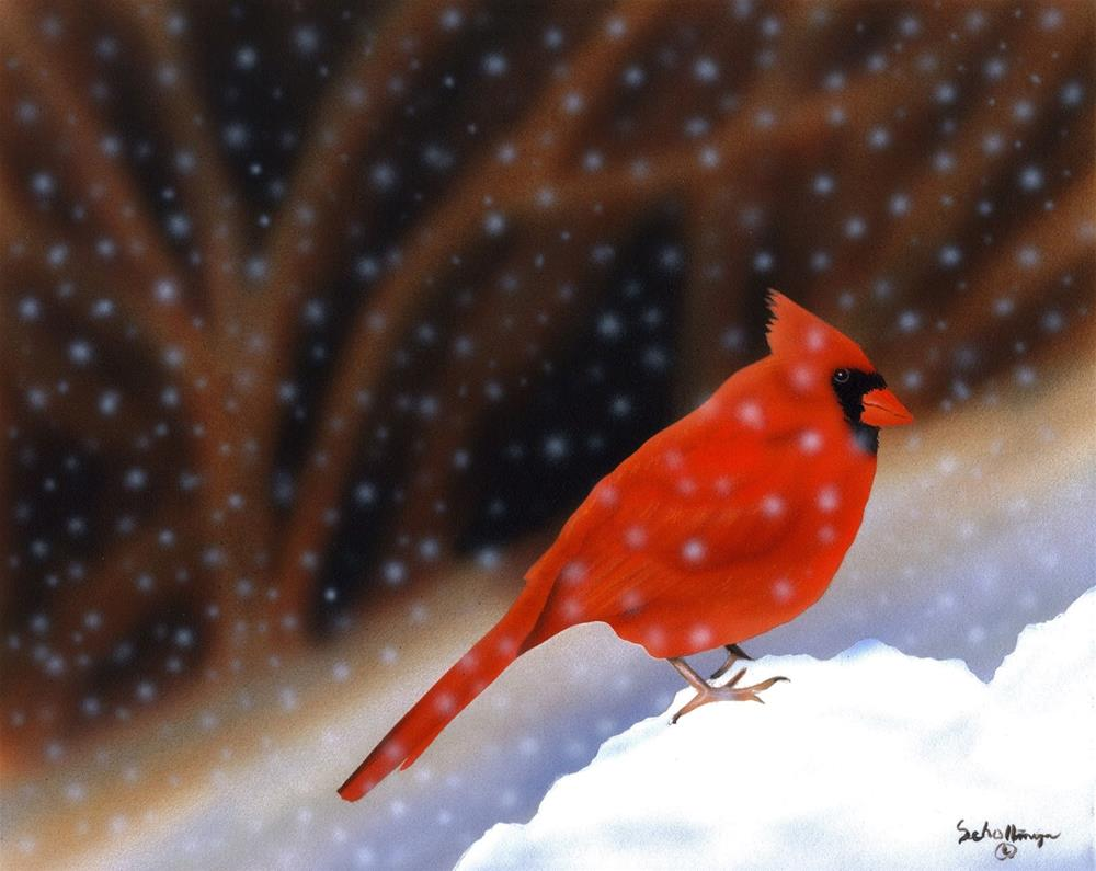 """Snow Perch"" original fine art by Fred Schollmeyer"