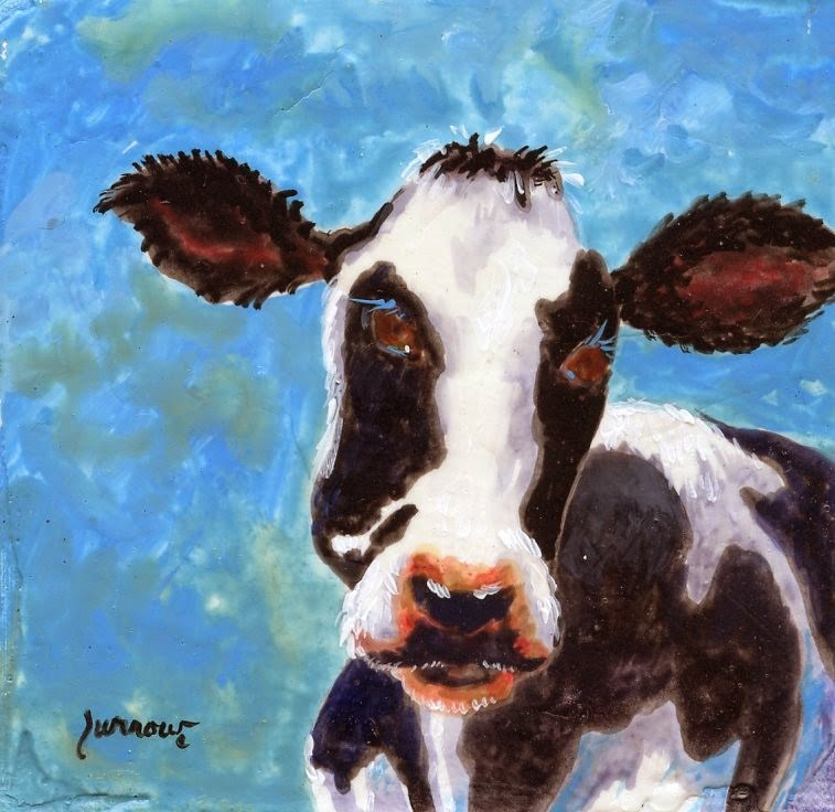 """Moma Cow"" original fine art by Sue Furrow"