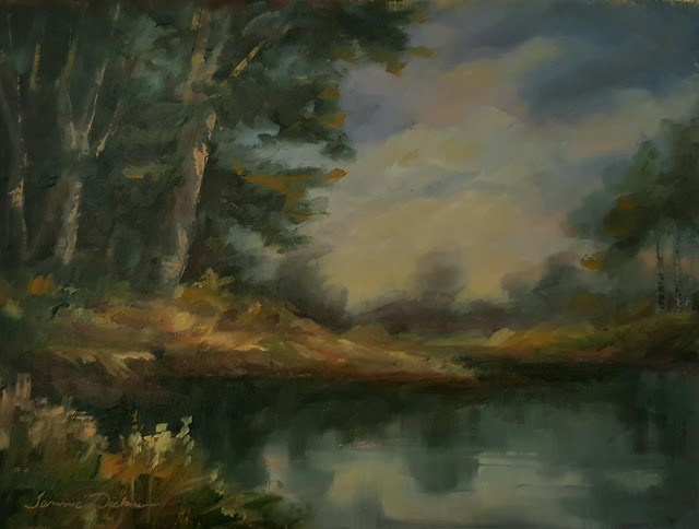 """Last Light on the Pond"" original fine art by Tammie Dickerson"