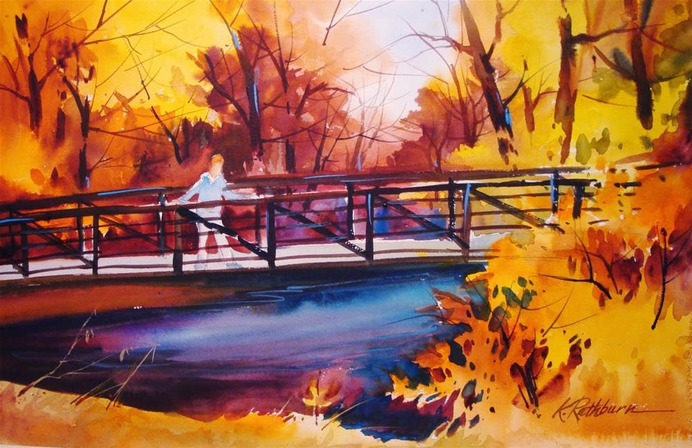 """Burning Bridges"" original fine art by Kathy Los-Rathburn"
