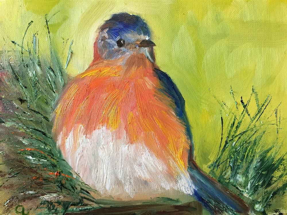 """Mr. Bluebird"" original fine art by Gayle Lambeth"