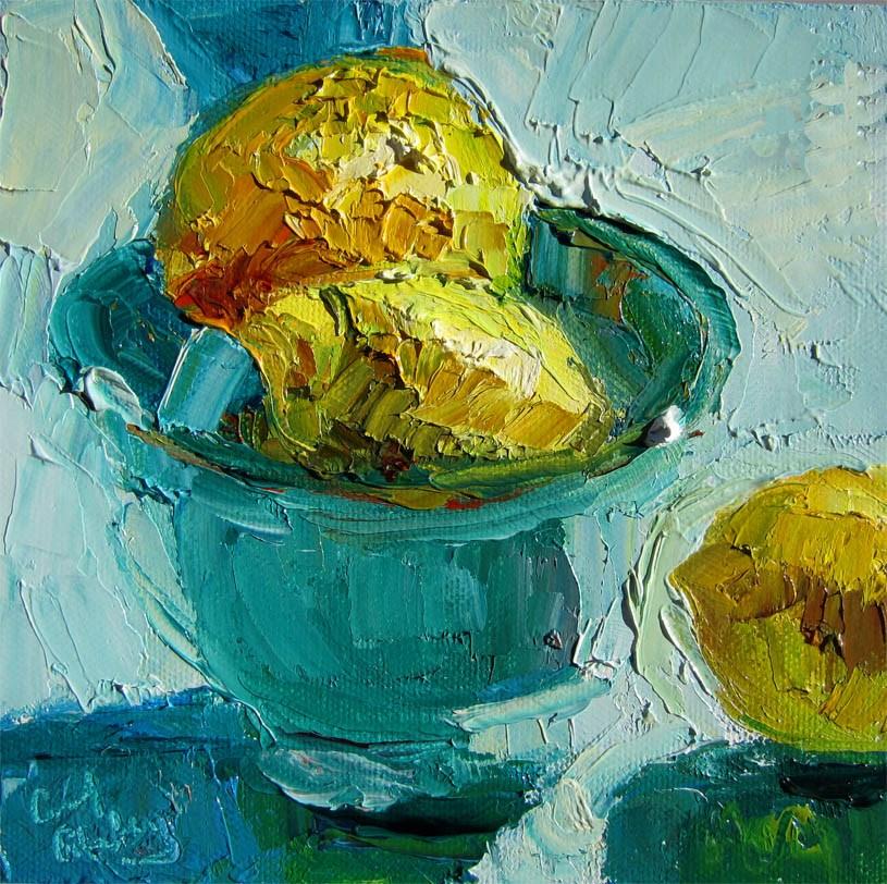 """""""Lemons, Aqua Cloth and Bowl"""" original fine art by Carol Steinberg"""
