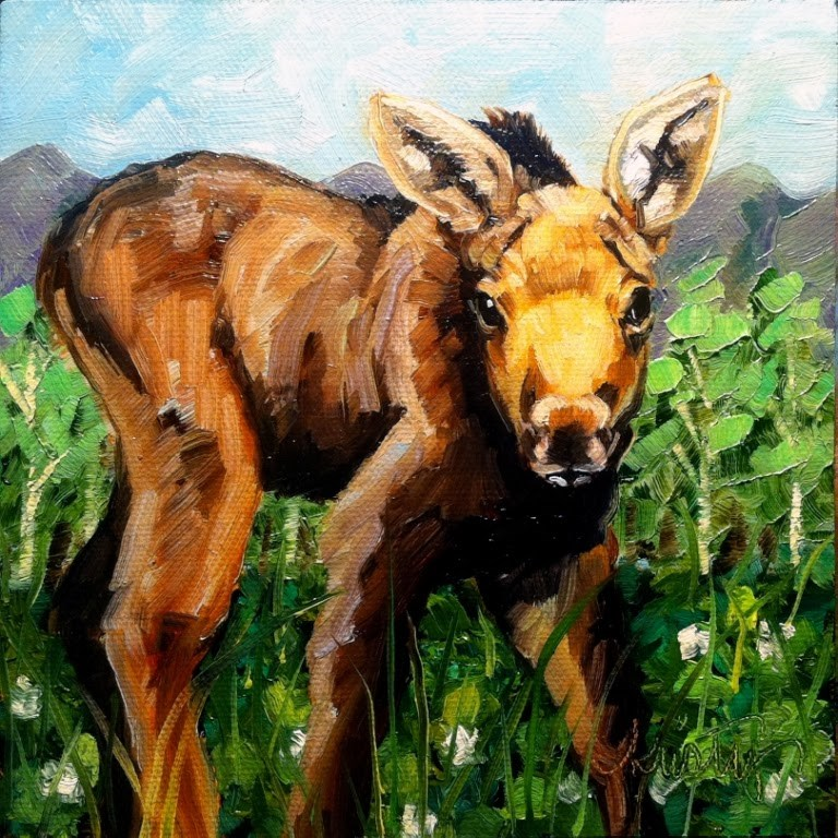 """MOOSELING"" original fine art by Kristy Tracy"