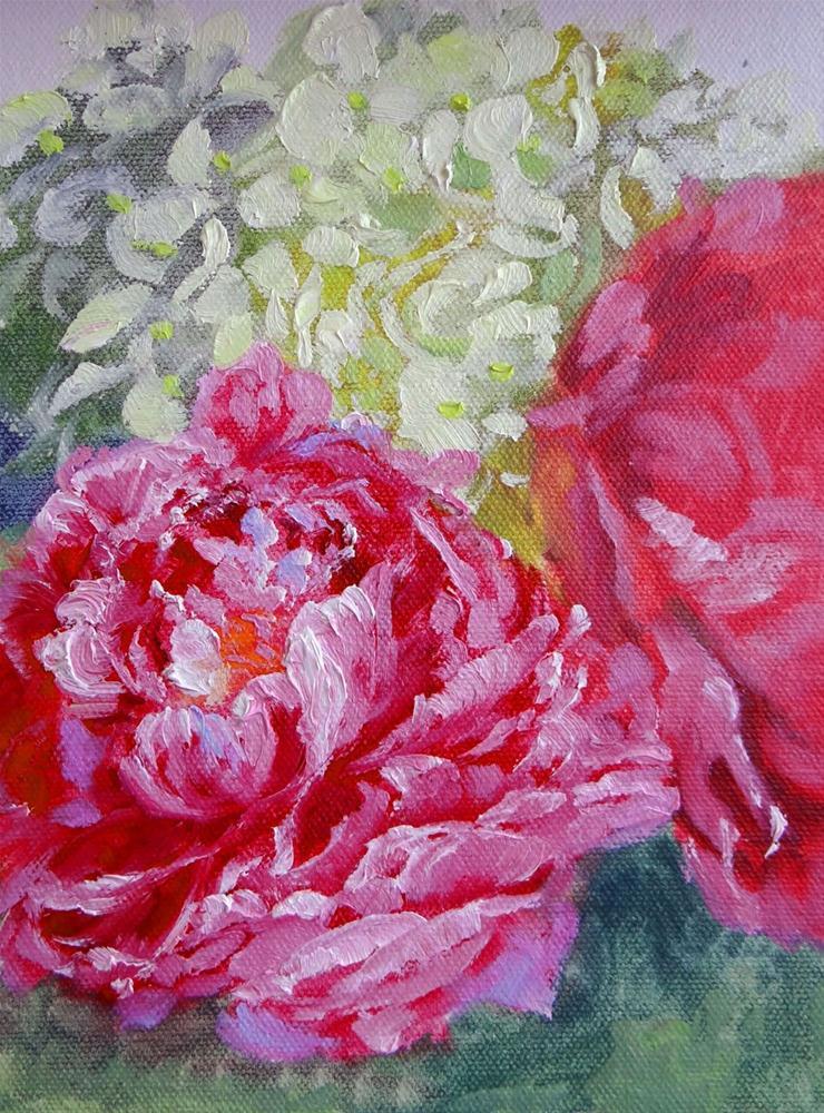 """Two-tone Pink Peonies"" original fine art by Nancy Paris Pruden"