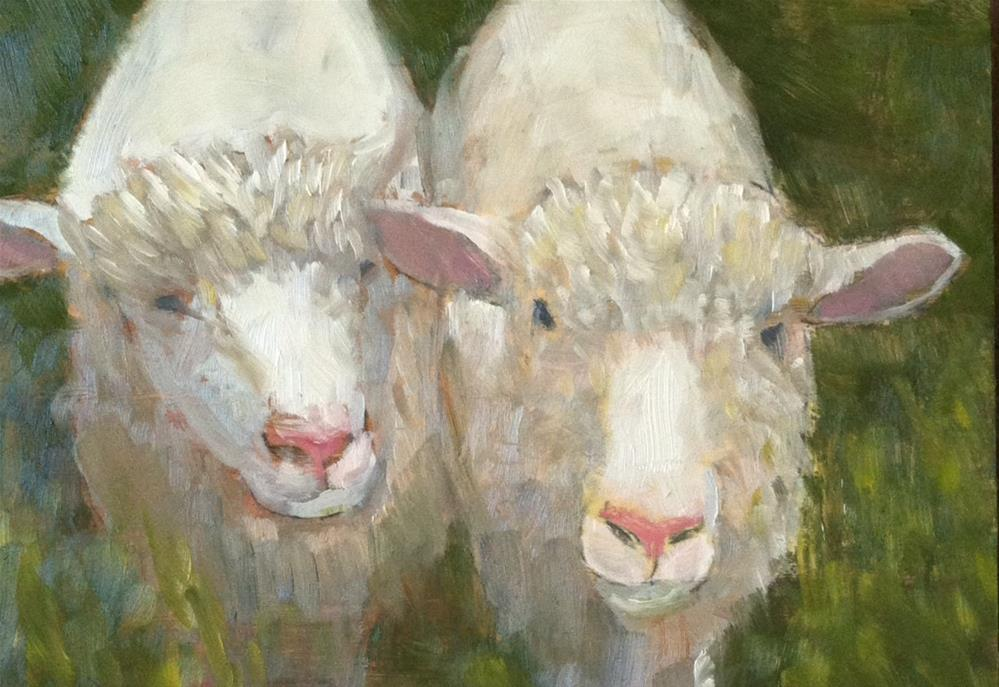 """Two Little Lambs"" original fine art by Katharine March"