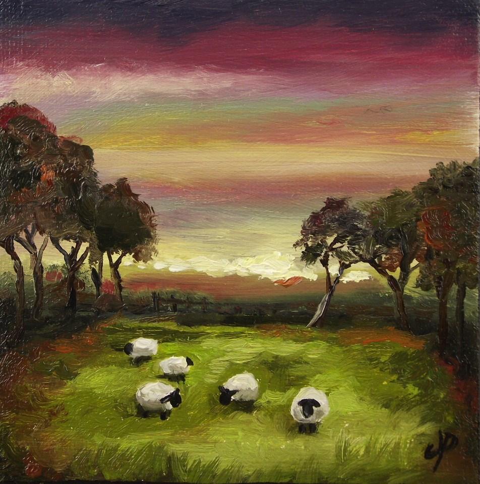 """Red sky, sheep"" original fine art by Jane Palmer"