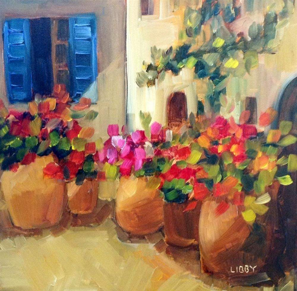 """Corner of the Plaza"" original fine art by Libby Anderson"